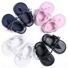 0-18M Flip-flops Sandal Baby Kid Girls PU Leather Bow Shoes Princess Slippers AU