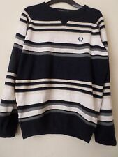 Mens Fred Perry Navy Blue Striped Crew Neck Jumper  Size: L