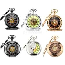 Mechanical Punk Pocket Watch w/ Link Chain Engrave Retro Phoenix/Floral