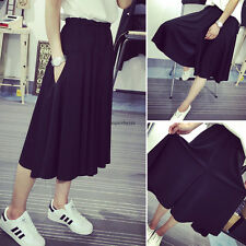 Women Summer Elastic Wide Leg Loose Casual Black Skirt Culottes Cropped Pants