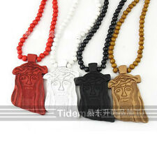 Fashion wood good HipHop jewelry kindly Jesus Pendant Ball Beads Chain Necklace