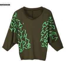 New Batwing Dolman Batwing Sleeve Letter Prints Tops Blouses T-Shirts Hot B0N01