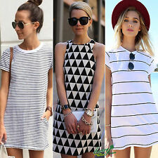 Women Summer Short Sleeve Crew Neck Striped Mini Dress Casual T-shirt Blouse Top