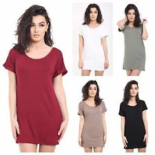 NEW WOMEN'S LADIES TURN UP SLEEVE PLAIN TUNIC DRESS LONG TOP All Sizes
