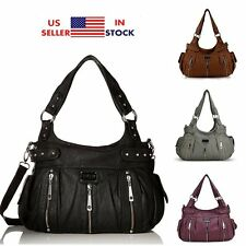 Women Washed Leather Bag Lady Handbag Purse Girls Shoulder Crossbody Tote Bag