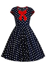 Modern Vintage Navy White Polka Dot Dress Rockabilly PinUp Retro Nautical Sailor