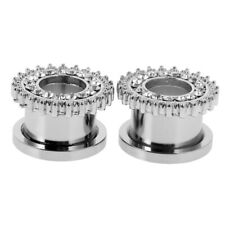 Pair Surgical Steel Crystal Screw Ear Stretcher Flesh Tunnels Earring Plugs Ring