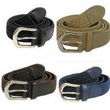 "Men Woven Elastic Braided Stretch Belt Wholesale 1-1/4""  Silver buckle 7200"