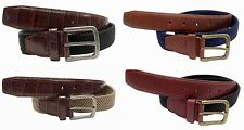 "Men's Leather Belt Elastic Stretch Belt  CROCO EMBOSSED 1-3/8"" Wide 7900"