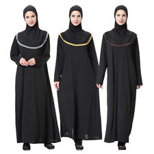 Dubai Muslim Cocktail Women Maxi Dress+Hijab Prayer Set Islamic Kaftan Abaya NEW