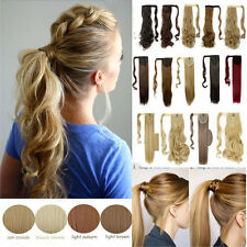 Mega Real as human Clip In Ponytail Hair Extensions Wrap Around Pony Tail Grey W
