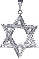 Sterling Silver Jewish Charm Star of David Pendant Necklace 3.5 Inches 25 Grams