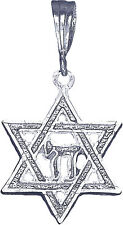 Sterling Silver Jewish Charm Star of David with Chai Pendant Necklace with Chain