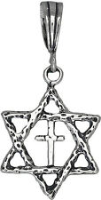 Sterling Silver Star of David and Cross Charm Pendant Necklace Oxidized Finish