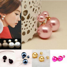 1 Pairs Fashion  Man Made New Hot Double Pearl  Earrings  Design  Ear Studs