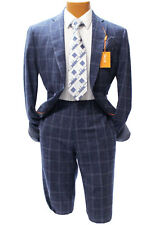 Brand New 2017! Tallia Navy Blue Wool and Linen Windowpane Slim Fit Suit