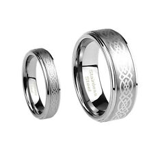 8mm Men or 6mm Ladies 316L Stainless Steel Celtic Knott Wedding Band Ring Set