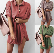 Womens Casual short Sleeve Dresses Oversize Loose Chiffon T Shirt Top Blouse