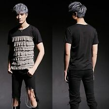Men Chic Black Ruffled Frill Flounced Pieced Colorblock Slim Fit Top Tee T-Shirt