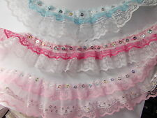 1 or 2 m x Pleat Gathered double or Triple Layered gathered Lace - choose colour