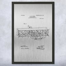 Framed Wright Bros Airplane Flying Machine Front View Patent Art Print Gift