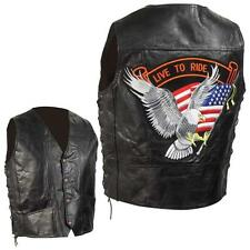Men's Genuine Leather Bikers Vest Motorcycle Chopper Apparel with Eagle Patch