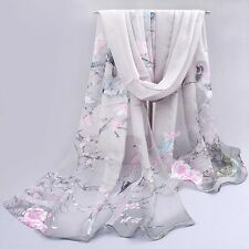 Womens Flower Printed Wrap  Amazing Long Chiffon Stole Scrawl Soft Scarf Hot
