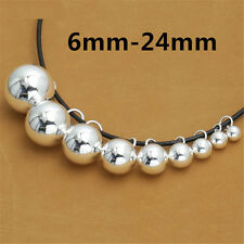 Sterling Silver Round Ball Bead Charms Pendant for Bracelet Necklace 6mm to 24mm