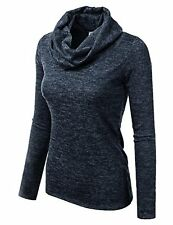 Doublju Womens Cowl Neck Heather Knit Sweater Top (Made In USA)