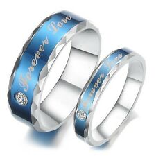 Bule Forever love Titanium Steel Promise Ring Couple Wedding Bands lover gift