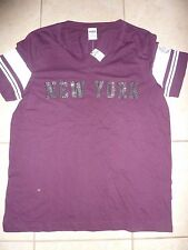 "VICTORIAS SECRET PINK BLING BLING""LOVE PINK""CAMPUS ""NEW YORK"" VNECK TEESHIRT NWT"