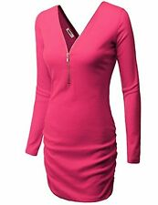 Doublju Womens Long Sleeve V-Neck Zip-up Front Back Sexy Shirring Detail Party