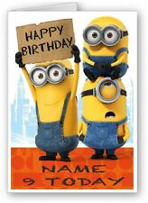 LARGE A5 PERSONALISED MINIONS BIRTHDAY CARD + WHITE ENVELOPE !