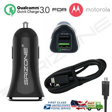 Quick Charge 3.0 Dual Port Rapid Car Charger For Motorola DROID TURBO 2 / MOTO X