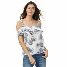 Mantaray Womens White Pineapple Print Cold Shoulder Top From Debenhams