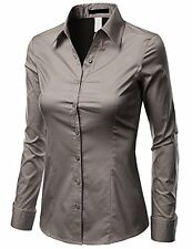 Doublju Womens Basic Long Sleeve Cotton Button Down Collared Shirt