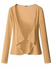 Doublju Womens Long Sleeve Jersey Knit Cardigan Draped Open (S - 3XL)