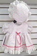 BEAUTIFUL BABY GIRLS FRILLY DRESS WITH FRILLY HAT 0 TO 12 MONTHS