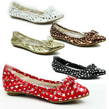 NEW WOMENS LADIES FLAT POINTED TOE BALLERINA BALLET DOLLY PUMPS SHOES SIZE 3-8