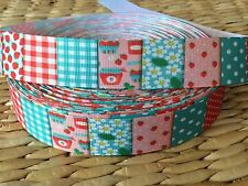 "1, 3 or 5 yards 1"" STRAWBERRY QUILT grosgrain ribbon- FLAT RATE SHIPPING"