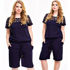 NEW Plus Size Jumpsuits Womens Rompers Hollow Out O-Neck Short Sleeve Playsuits