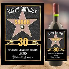 Personalised Happy Birthday Hollywood Star Wine Champagne Bottle Label N115