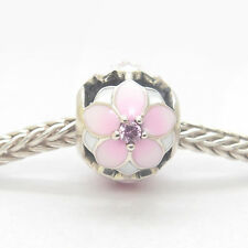 Authentic Genuine S925 Sterling Silver Magnolia Bloom Pale Cerise Charm Bead