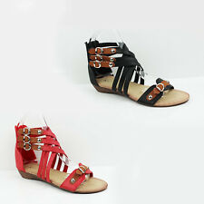 WOMENS LADIES WEDGE HEEL STRAPPY GLADIATOR BUCKLE DETAILS SANDALS SHOES SIZE 3-8