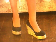 BNWT LADIES BLACK HIGH HEELED WEDGE COURT SHOES IN SIZES 6 & 7