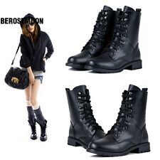Fashion Women's Cool Black PUNK Military Army Knight Lace-up Short Boots B0N103