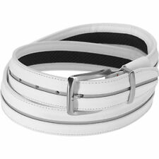 NEW Nike TW Stripe G Flex Golf Men's Belt Size 40 White Leather Silver Buckle