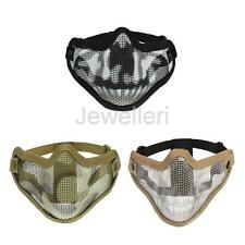 Hunting Tactical Army Half Lower Face Metal Steel Mesh Protective Mask w/ Straps