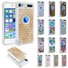 For Apple iPod Touch 5 5th/ 6 6th Gen Design Bling Hybrid Hard Rubber Case Cover
