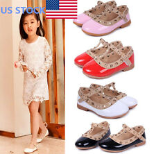 US Girls Kids Princess Sandals Shoes Rivet T-strap Flats Pointed Toe Dress Shoes